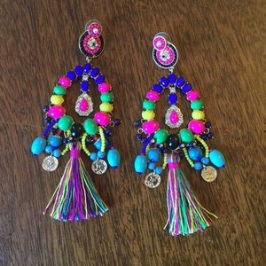 ANNA AND AVA Large Bright Tassel Bead Earring EUC